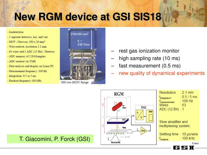 New RGM device at GSI SIS18