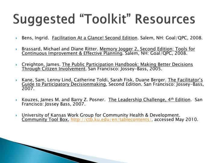 "Suggested ""Toolkit"" Resources"