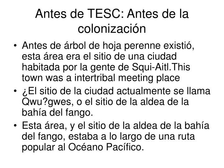 Antes de TESC: Antes de la colonización