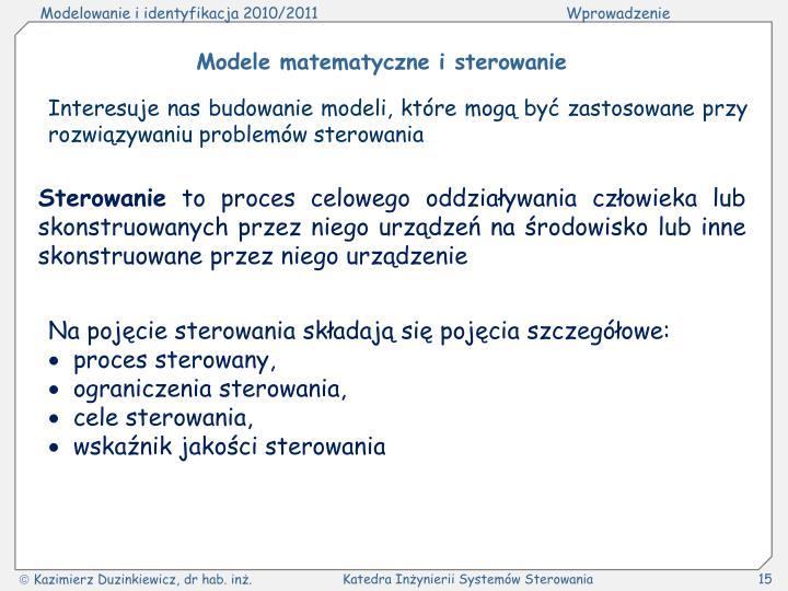 Modele matematyczne i sterowanie