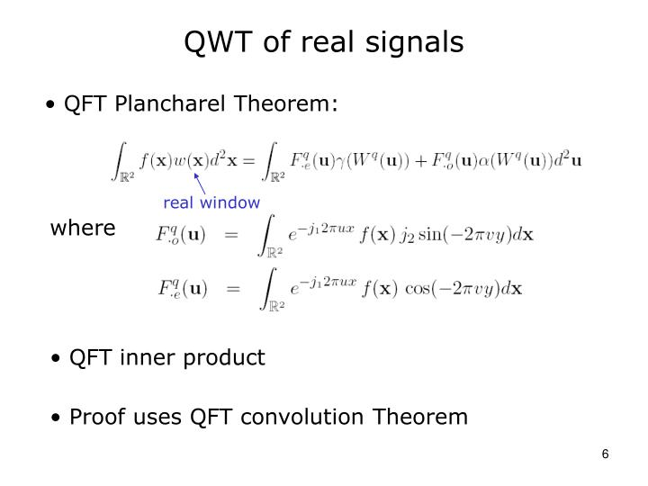 QWT of real signals