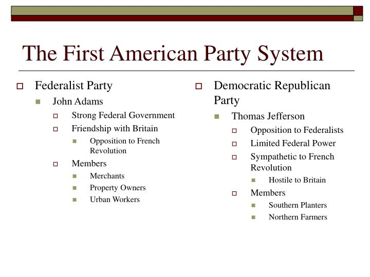 The First American Party System