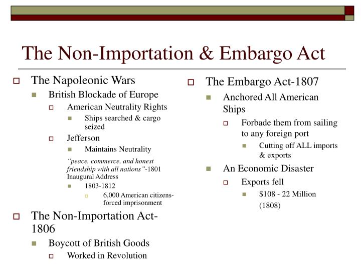 The Non-Importation & Embargo Act