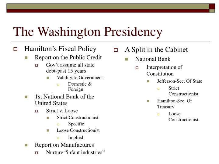 The washington presidency1
