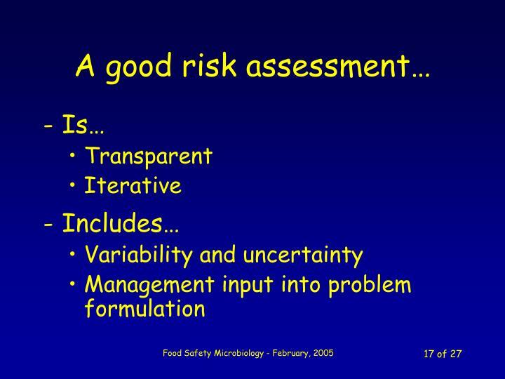 A good risk assessment…