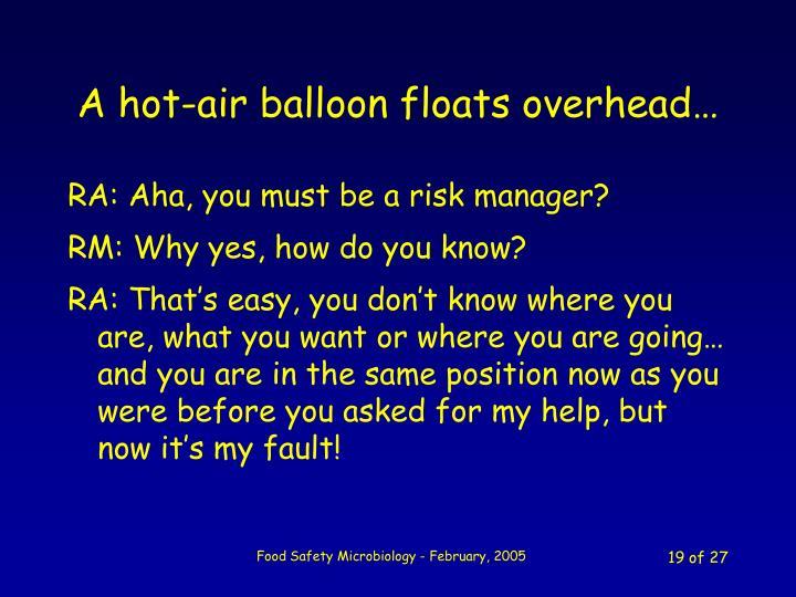 A hot-air balloon floats overhead…