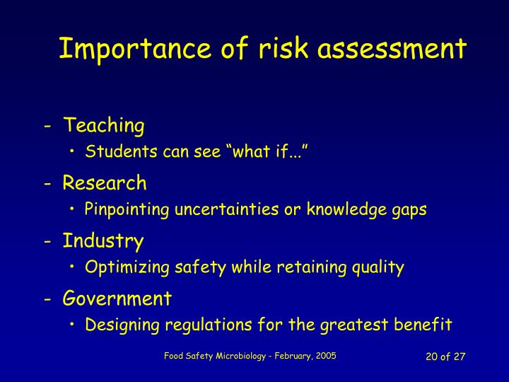 Importance of risk assessment