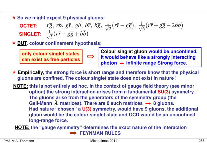 Colour singlet gluon