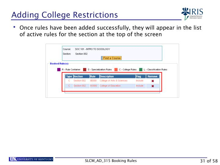 Adding College Restrictions