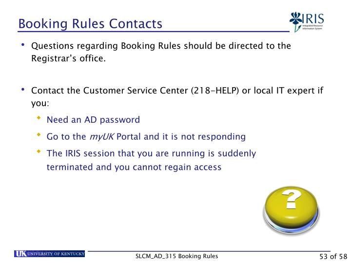 Booking Rules Contacts