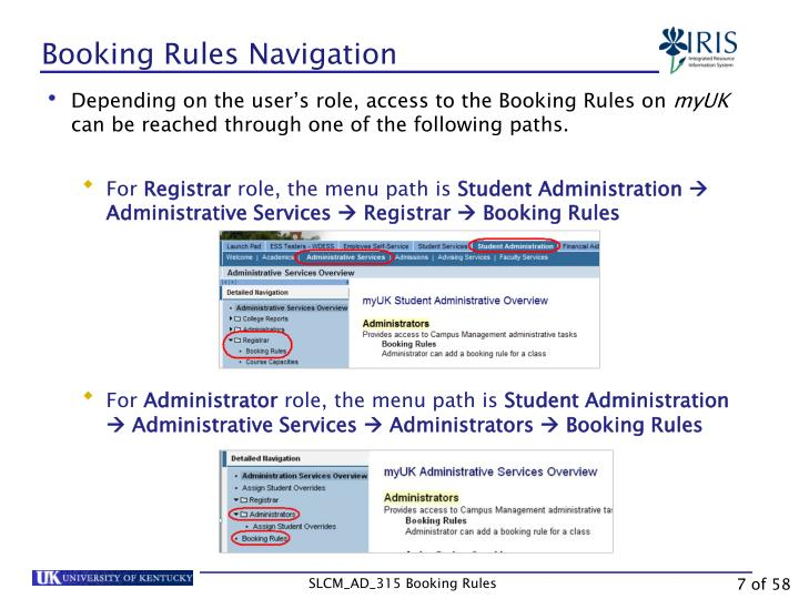 Booking Rules Navigation