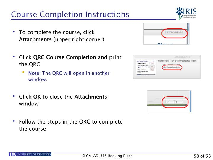 Course Completion Instructions
