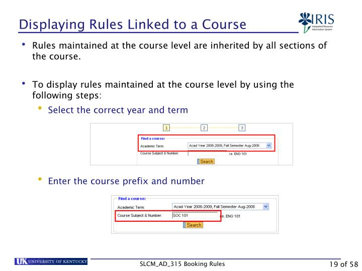 Displaying Rules Linked to a Course