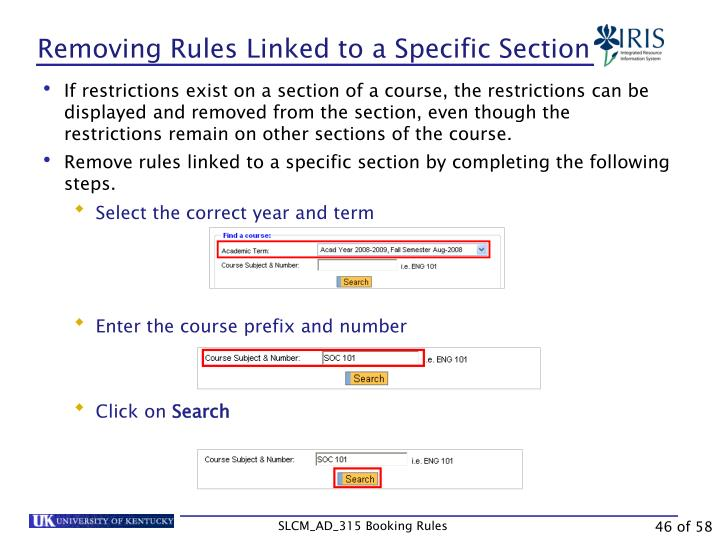 Removing Rules Linked to a Specific Section