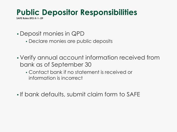 Public Depositor Responsibilities