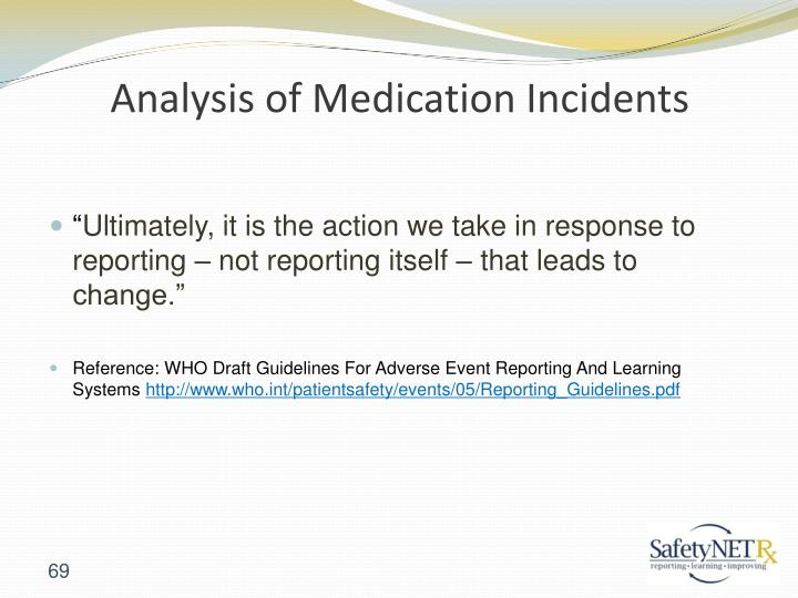 Analysis of Medication Incidents