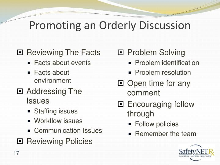 Promoting an Orderly Discussion