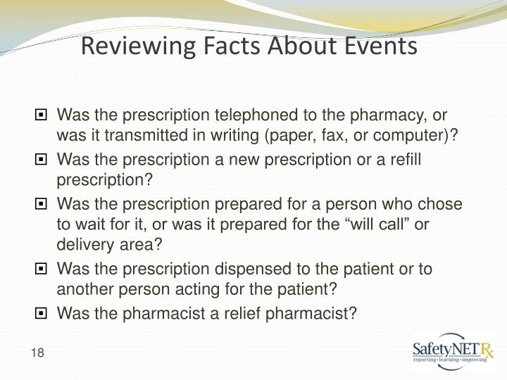 Reviewing Facts About Events