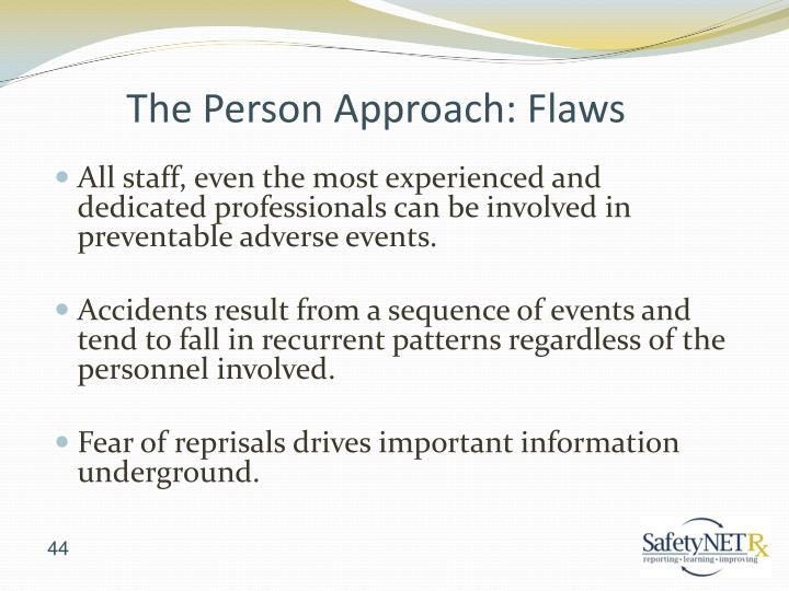 All staff, even the most experienced and dedicated professionals can be involved in preventable adverse events.