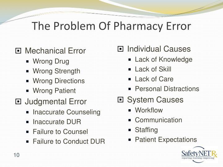 The Problem Of Pharmacy Error