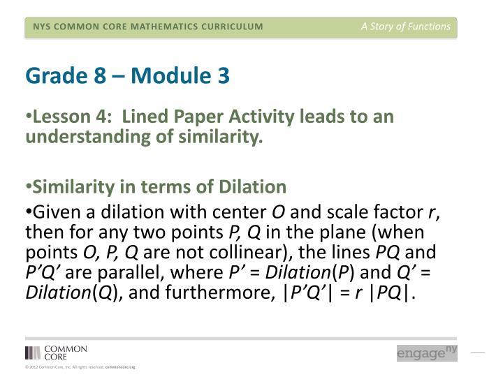 Grade 8 – Module 3