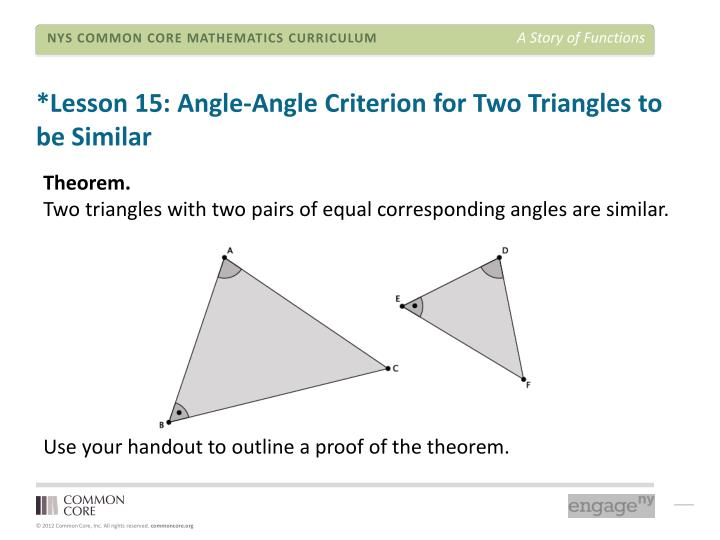 *Lesson 15: Angle-Angle Criterion for Two Triangles to be Similar