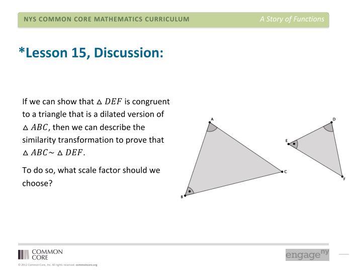 *Lesson 15, Discussion: