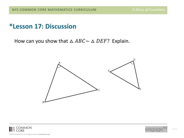 *Lesson 17: Discussion