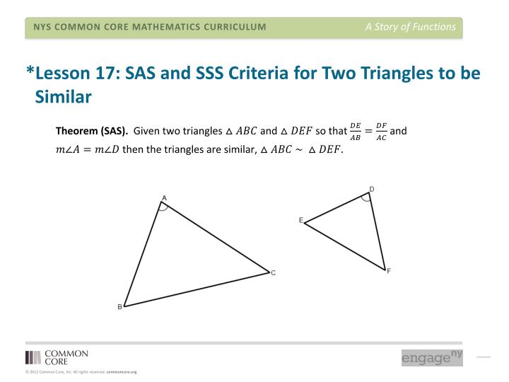 *Lesson 17: SAS and SSS Criteria for Two Triangles to be  Similar