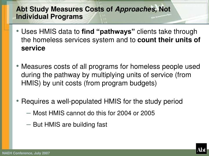Abt Study Measures Costs of