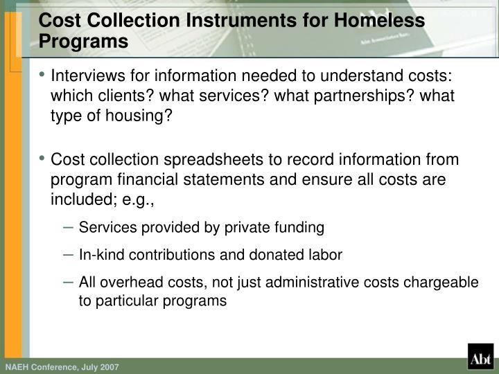 Cost Collection Instruments for Homeless Programs