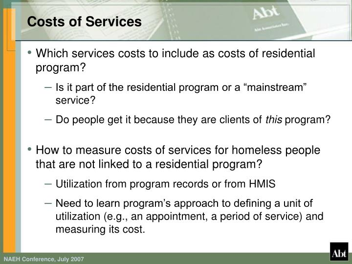 Costs of Services