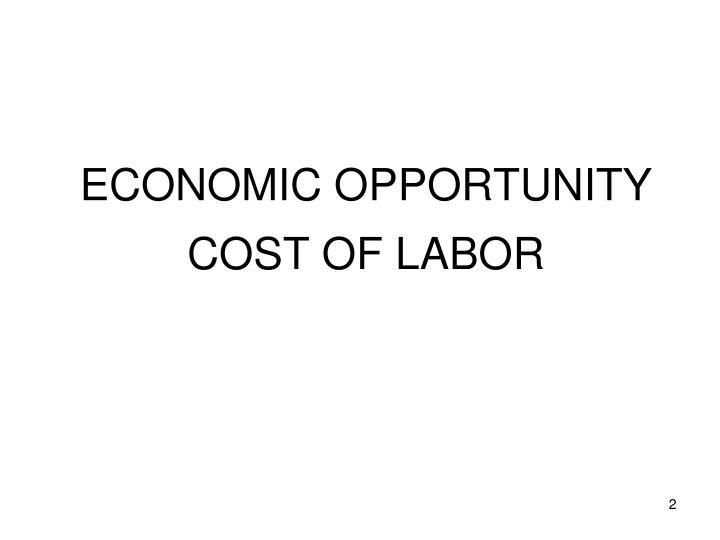 ECONOMIC OPPORTUNITY COST
