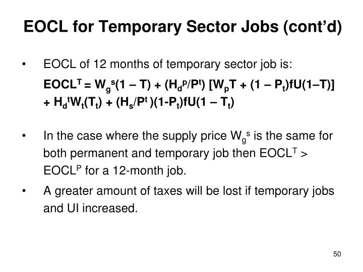 EOCL for Temporary Sector Jobs (cont