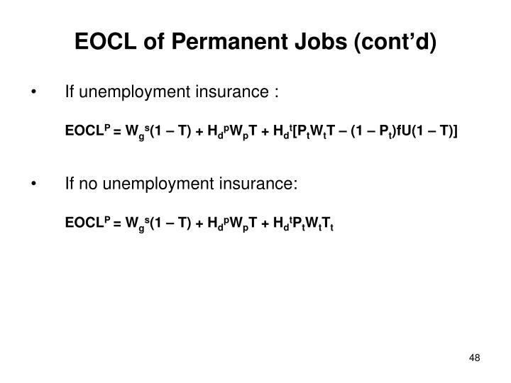 EOCL of Permanent Jobs (cont