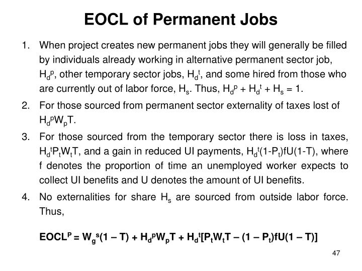 EOCL of Permanent Jobs