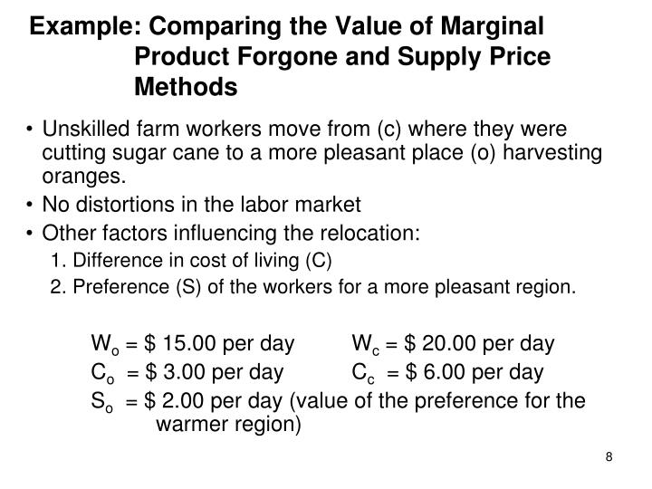 Example: Comparing the Value of Marginal Product Forgone and Supply Price Methods
