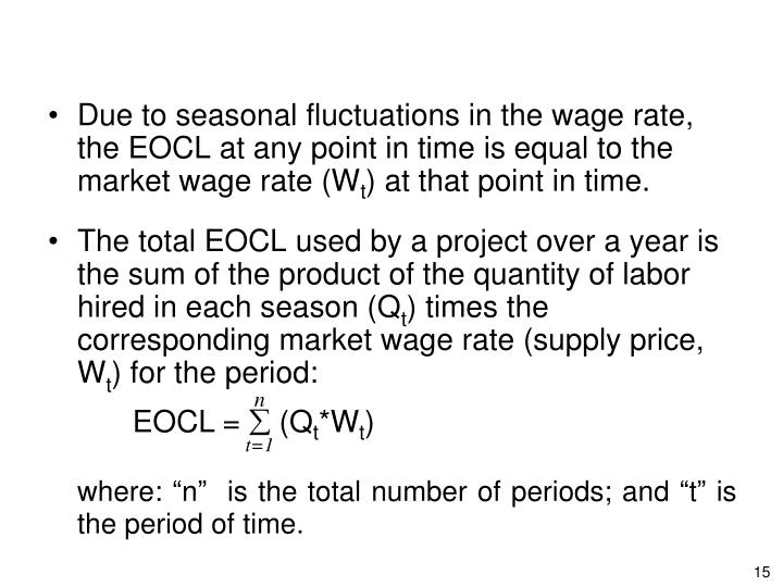 Due to seasonal fluctuations in the wage rate, the EOCL at any point in time is equal to the market wage rate (W