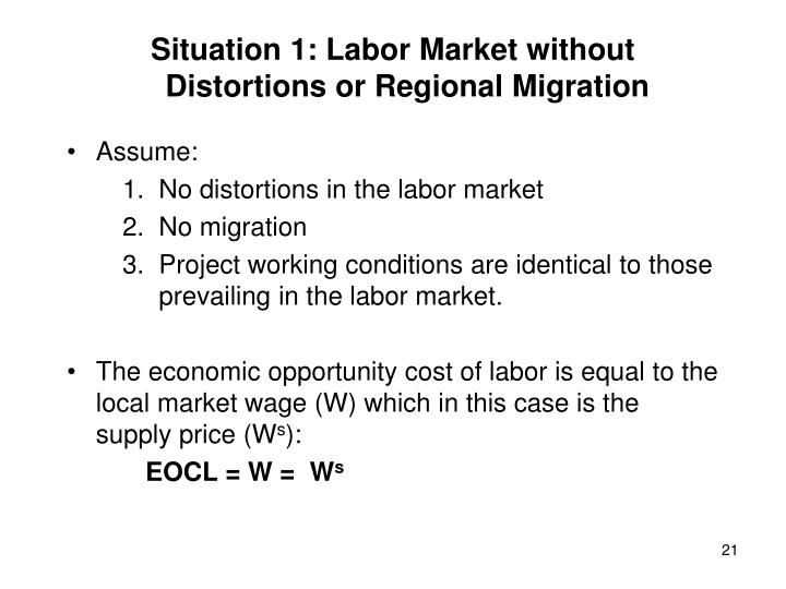 Situation 1: Labor Market without Distortions or Regional Migration