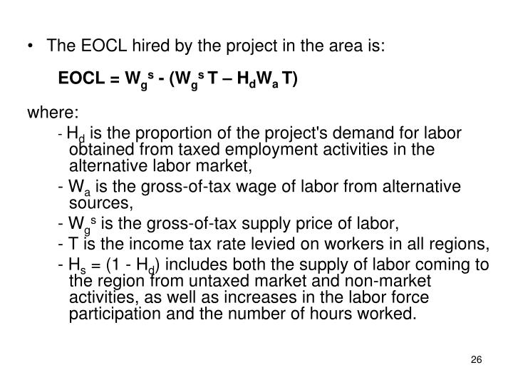 The EOCL hired by the project in the area is: