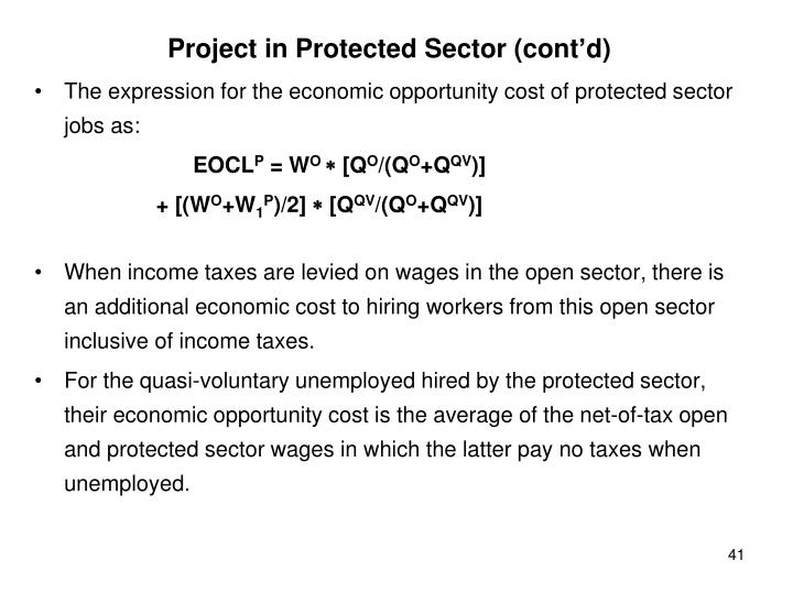 Project in Protected Sector (cont