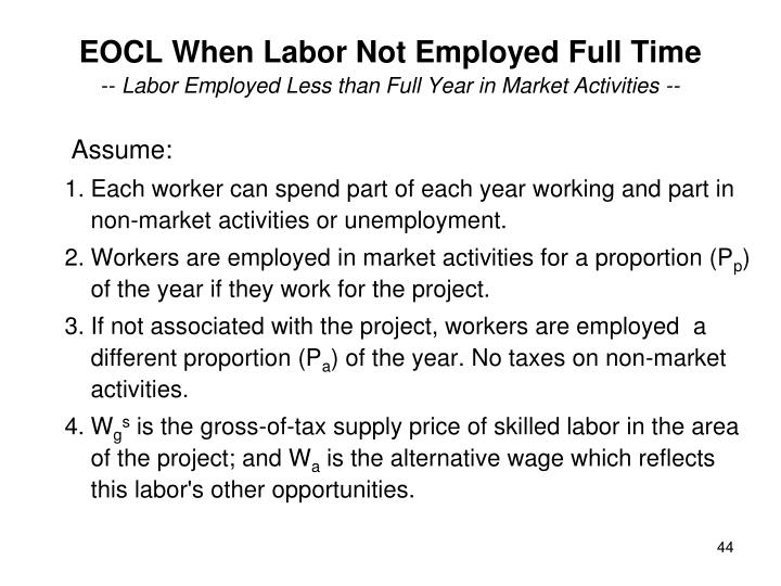 EOCL When Labor Not Employed Full Time