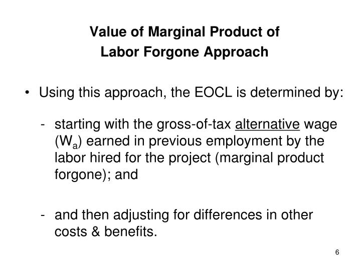 Value of Marginal Product of