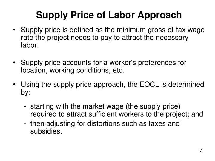 Supply Price of Labor Approach