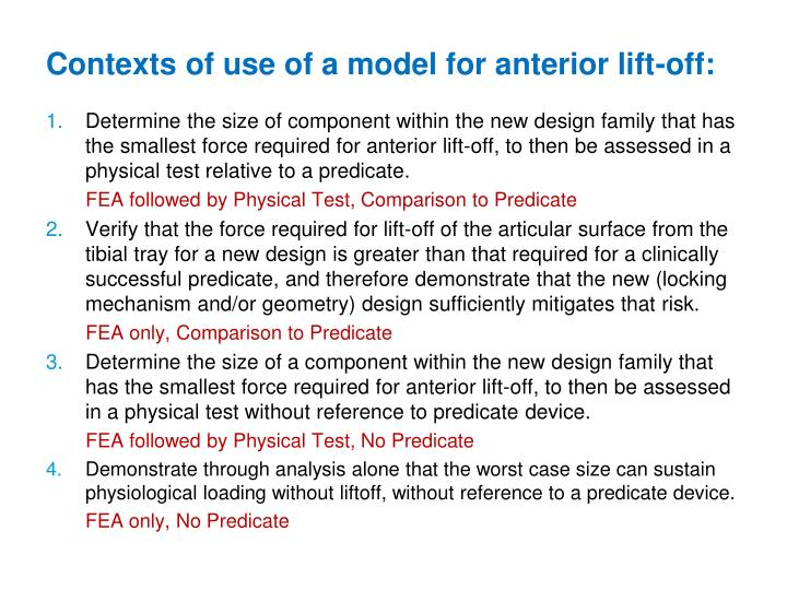 Contexts of use of a model for anterior lift-off: