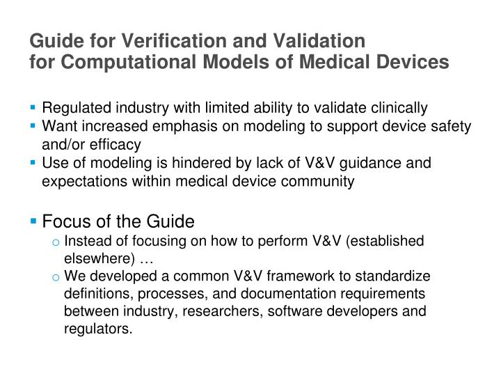 Guide for Verification and Validation
