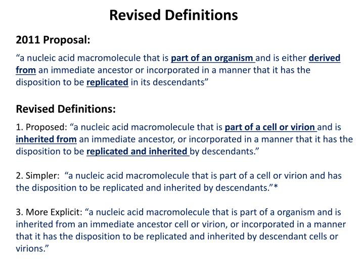 Revised Definitions