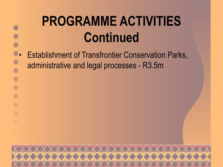 PROGRAMME ACTIVITIES Continued