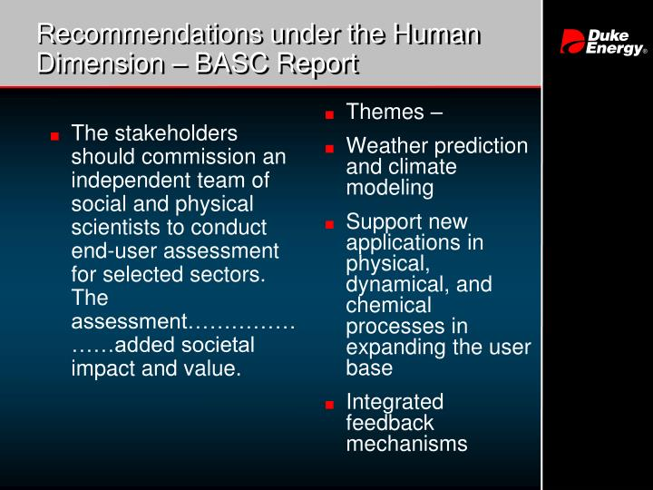 Recommendations under the Human Dimension – BASC Report