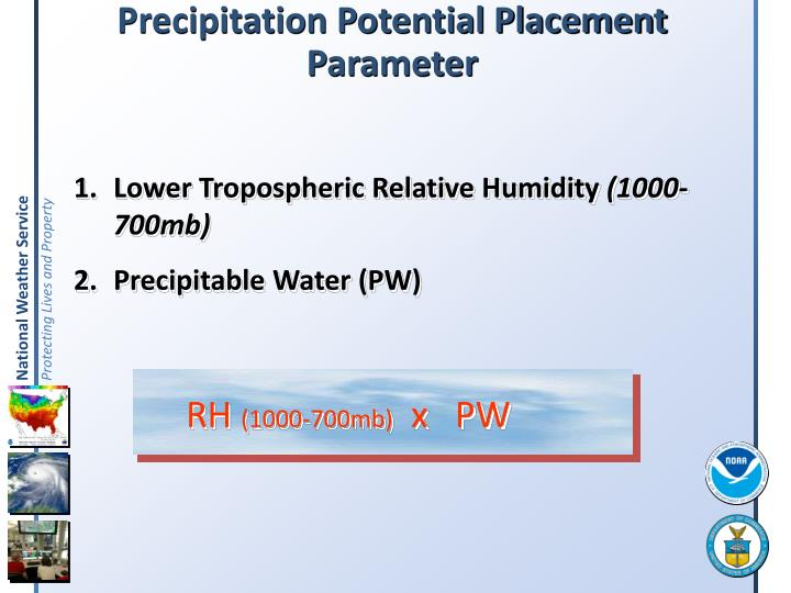 Precipitation potential placement parameter